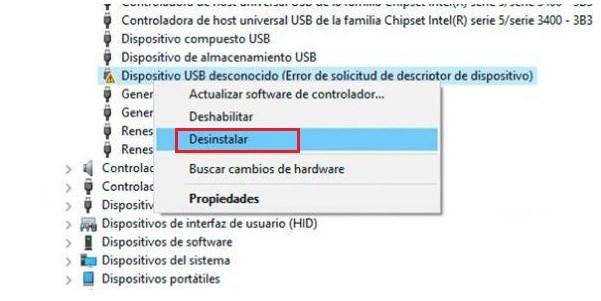 pasos para solucionar el error de no se reconoce dispositivo usb - paso 1