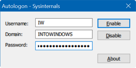 Autologon Windows 10
